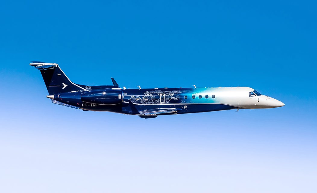Embraer's unique Legacy 650E paint scheme makes a splash at LABACE.
