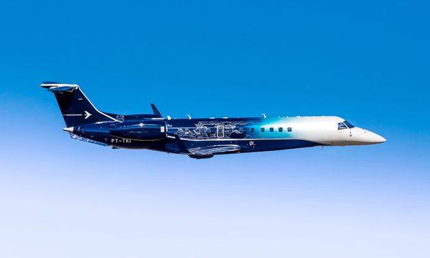 Embraer's unique Legacy 650E paint scheme makes a splash at LABACE.