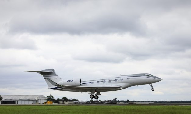 Fully outfitted Gulfstream G600 test aircraft completes first flight.