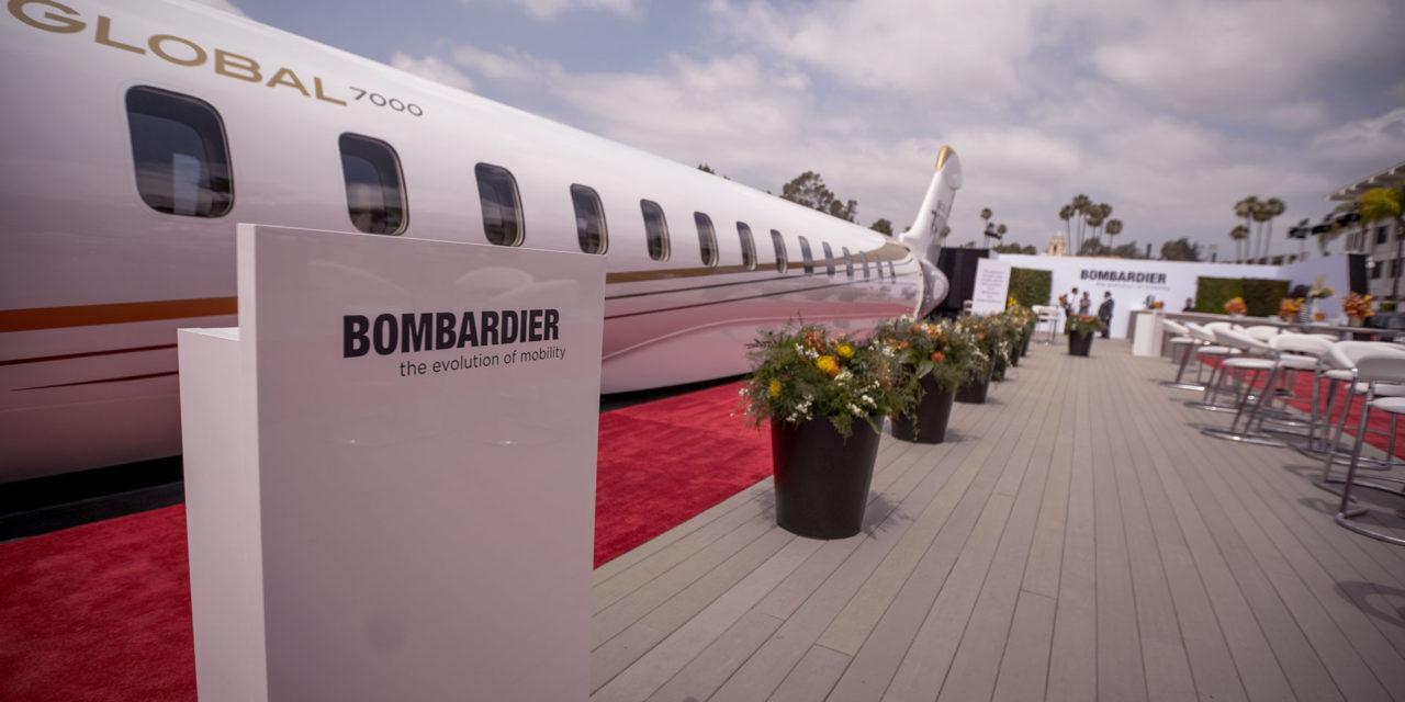 Bombardier debuts Global 7000 mock-up at Jetex private terminal in Dubai.