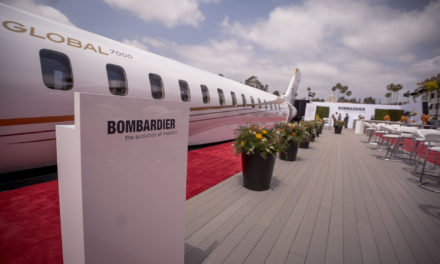 Bombardier debuts Global 7000 mock-up at Jetex private terminal in Dubai.