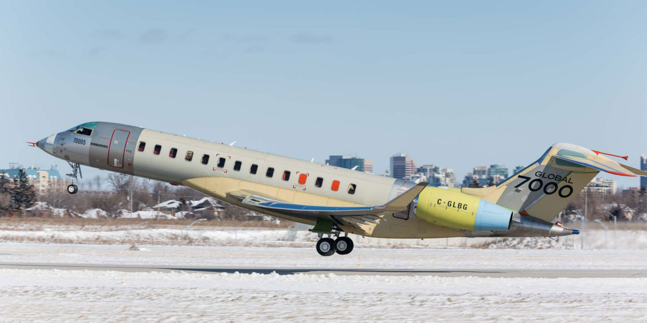 """The Masterpiece,"" the last Bombardier Global 7000 FTV, completes first flight successfully"