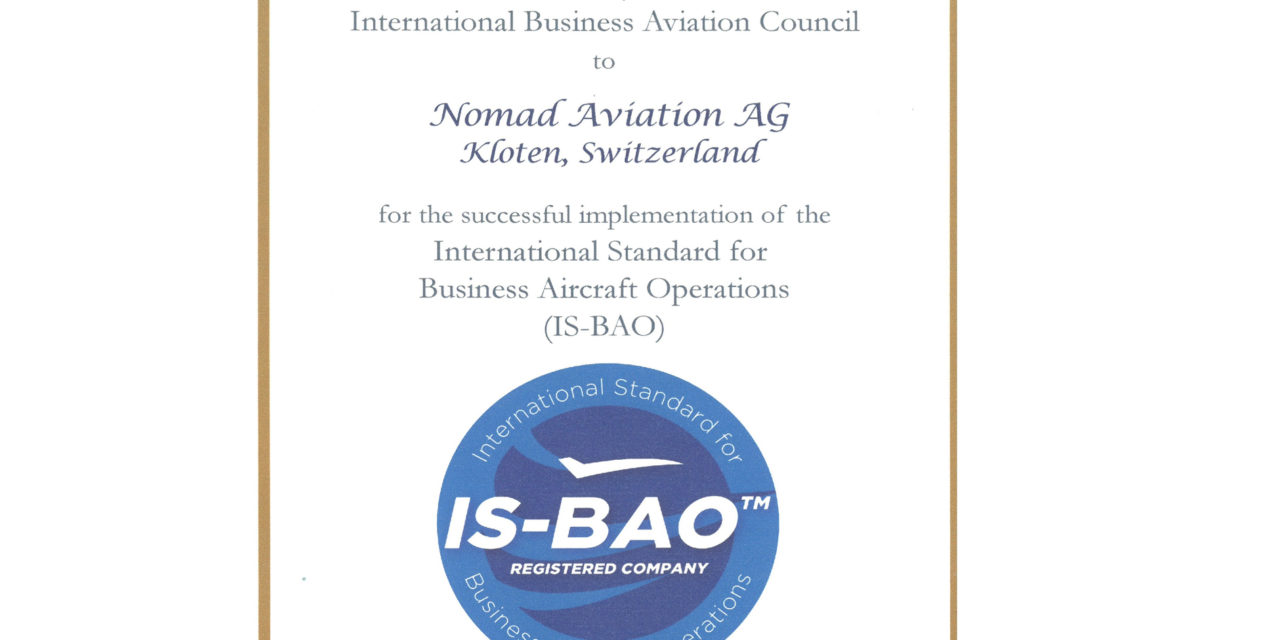 Nomad Aviation receives the IS-BAO registration certificate