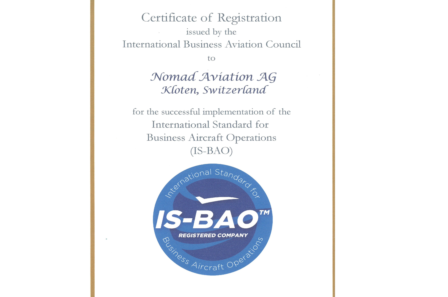 Nomad Aviation Receives The Is Bao Registration Certificate