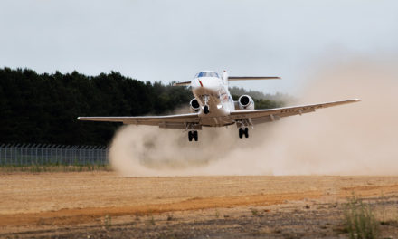 First landing on an unpaved runway for the PC-24