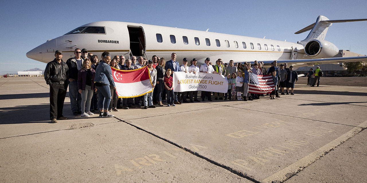 A Global 7500 completes the world's longest flight
